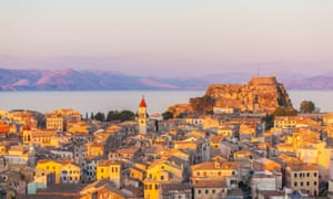 Aerial view of Corfu city.