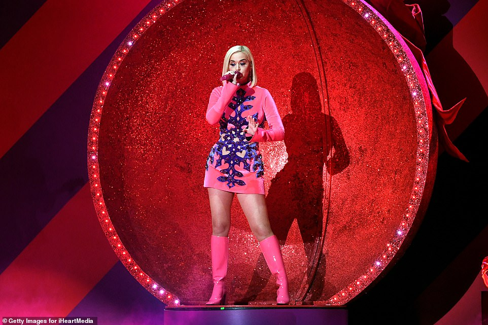 Vocal prowess: Katy looked amazing as she performed on stage