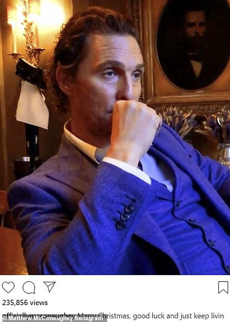 Christmas with the McConaugheys: Matthew McConaughey sat in a three-piece suit and rather glumly editorialized about when he and his family would be opening gifts during the holiday