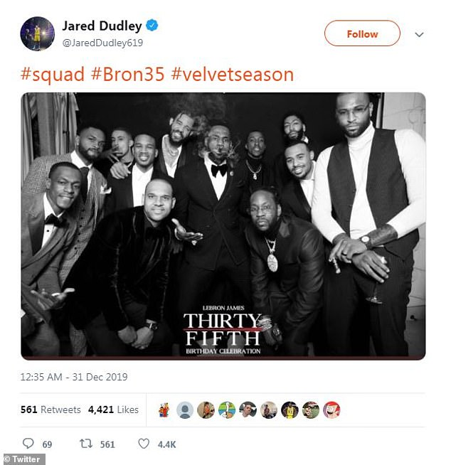 Squad goals:Most of the group even got together for a photobooth snap shared by journeyman Jared Dudley which saw King James at the center with a cigar in his mouth