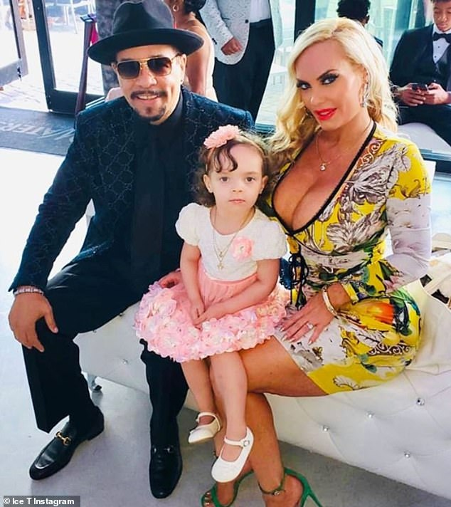 Family: Ice-T previously had his own reality series with wife Coco called Ice Loves Coco (pictured with his wife and daughter recently)