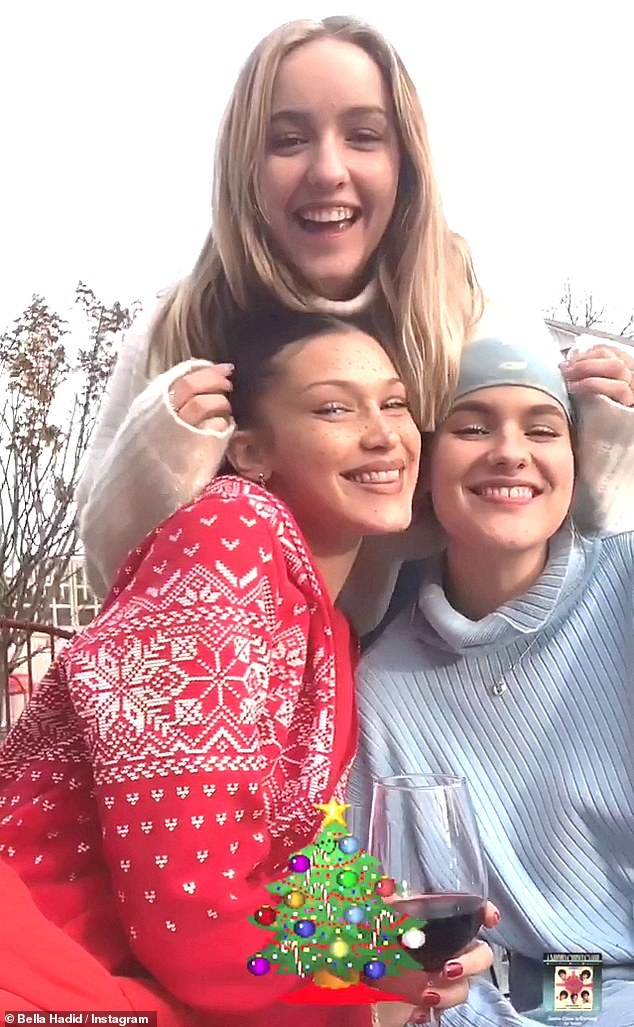 Festive:Bella also took to her Instagram story to share more photos with friends that have gathered for this festive holiday