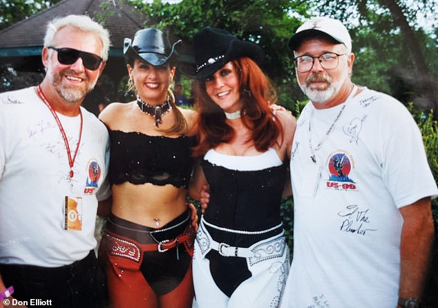 In 1987, Elliott was diagnosed with polycystic kidney disease, a genetic condition that could lead to kidney failure. Pictured: Elliott (far left) and Brandt (far right) at a music festival, date unknown