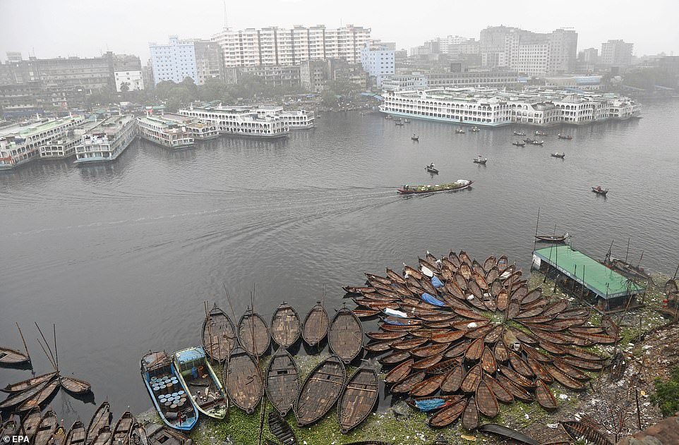 Small boats and vessels are left anchored in the water at the Sadar Ghat Launch terminal in Dhaka, Bangladesh (pictured), after Cyclone Fani hits the Indian state of Odisha