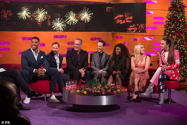 The Graham Norton Show: Airs on BBC One, 31st December at 10.20pm (pictured L-R Anthony Joshua, Stephen, Tom Hanks, Matthew Rhys, Motsi Mabuse, Florence Pugh and Melanie C)