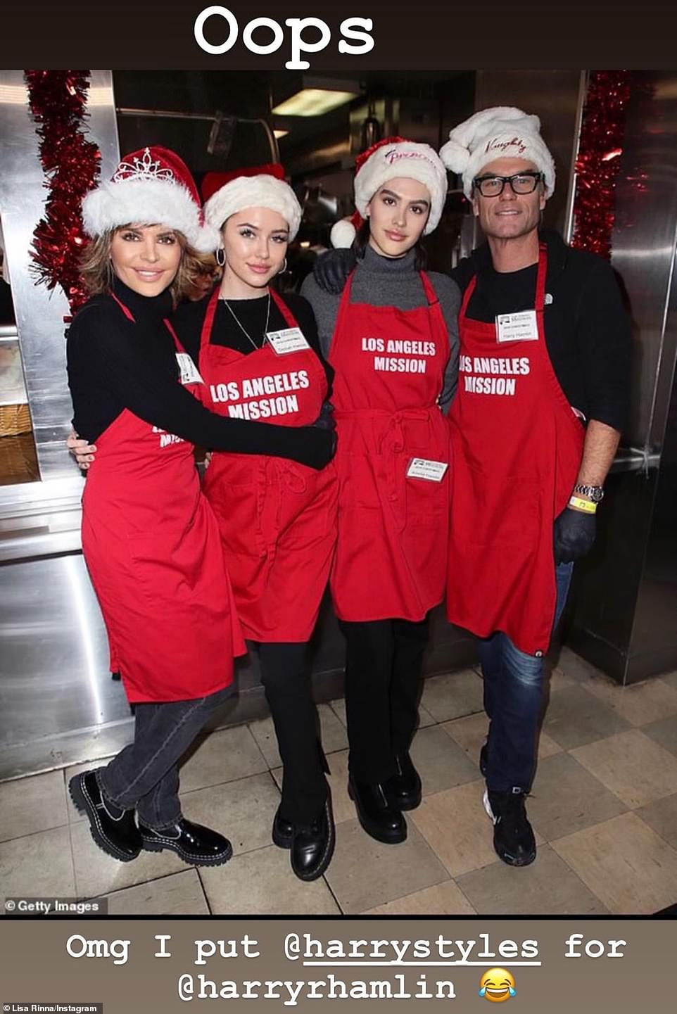Giving back:Lisa Rinna and husband Harry Hamlin took time to give back on Christmas Eve, volunteering with their children at the Los Angeles Mission soup kitchen, but Lisa mistakenly tagged Harry Styles in her IG Stories instead of her husband