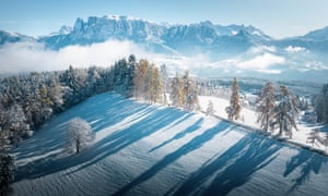A snowy landscape view across the Dolomites