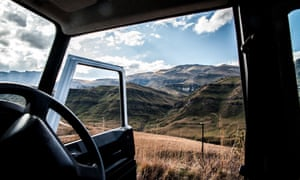 From behind the wheelSani Pass, Lesotho - looking out at view from behind the wheel.