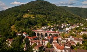 Hornberg with Black Forest Railway Viaduct, Schwarzwald, Germany