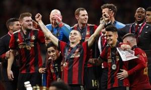 Miguel Almirón caught Rafa Benítez's eye with Atlanta, here celebrating their 2018 MLS Cup triumph.