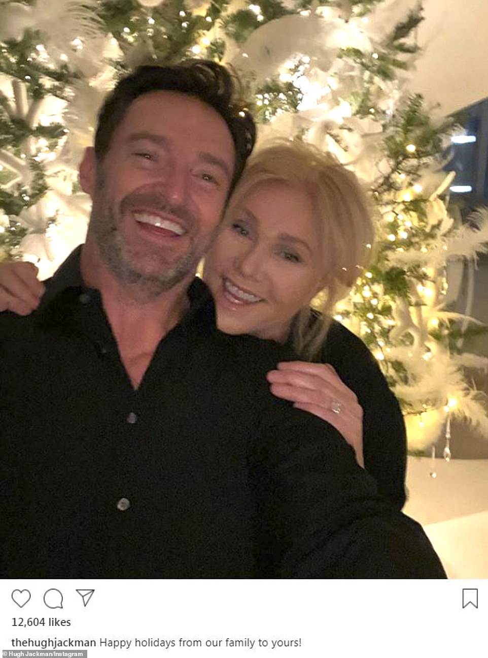 Christmas couple:Retired Wolverine Hugh Jackman posted a beautiful selfie with wife Deborra-Lee Furness in front of an illuminated white Xmas tree