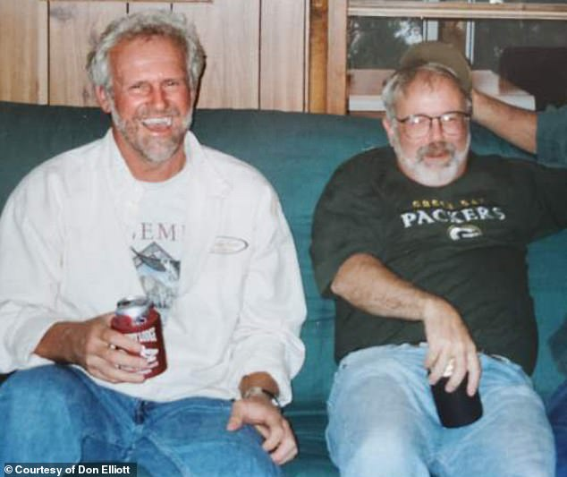 The surgery was successfully performed in October and both men are back home recovering now. Pictured: Elliott (left) and Brandt (right) in 2001