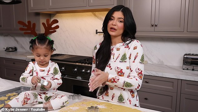 Too cute: Kylie and Stormi made cookies for Christmas in a YouTube clip she previously shared