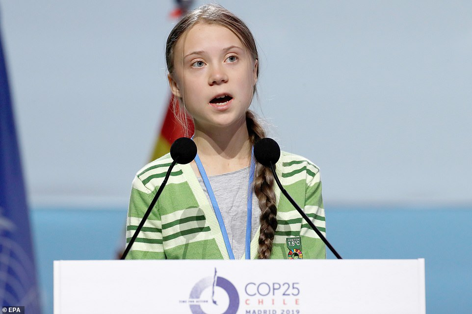 The shocking report came after the UN said carbon emissions had risen again this year and Greta Thunberg, pictured at the Madrid summit, led protests calling on world leaders to do more to tackle climate change