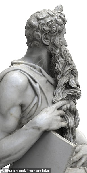 A swollen jugular can be spotted on the artist's sculpture of Moses (seen here in a 3D reconstruction), in which the biblical prophet is depicted as having just returned from Mount Sinai after receiving the Ten Commandments — to find the Israelites worshipping the false idol of the golden calf