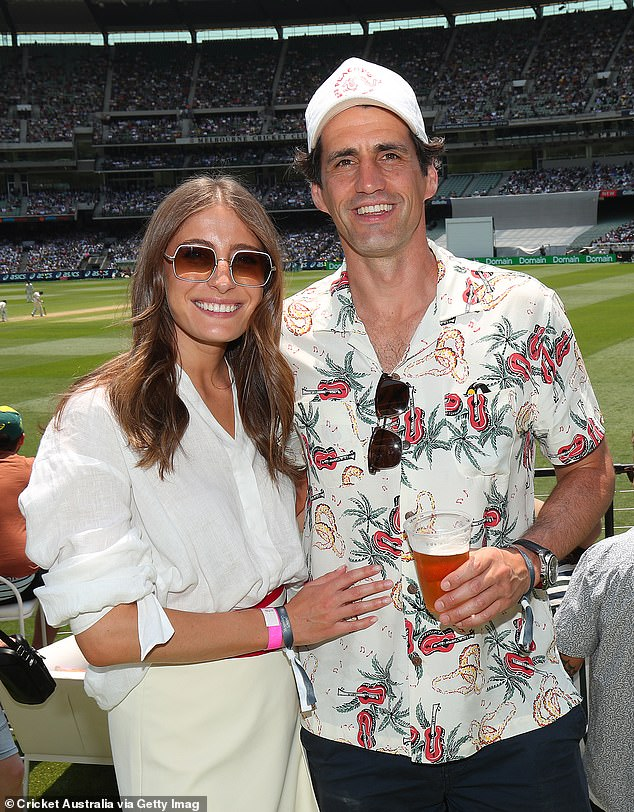 What a day!The pair appeared in high spirits as they posed at the cricket pitch