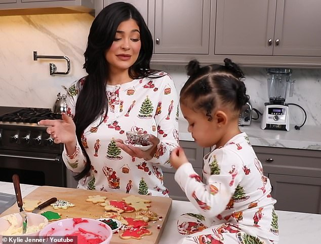 A mom's love! Kylie looked at her adorable tot as both wore matching outfits
