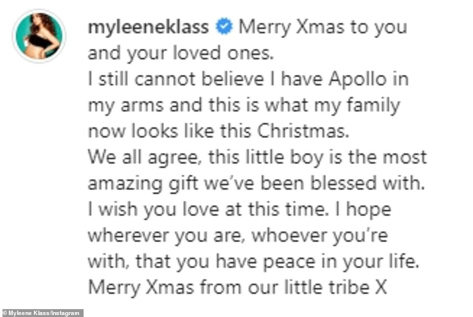 Reflective:Clearly feeling reflective and sentimental, Myleene penned alongside the snap: 'Merry Xmas to you and your loved ones. I still cannot believe I have Apollo in my arms and this is what my family now looks like this Christmas.'