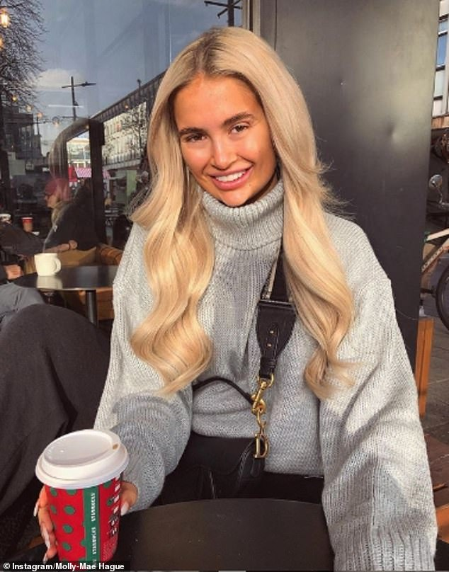Humble beginnings: The media personality, 20,recently revealed she had 'no money at all' before starring on ITV2's Love Island earlier this year (pictured on Christmas Eve)