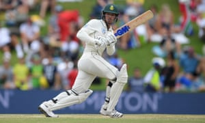 Quinton de Kock plays to the leg side during his innings of 34 from just 37 deliveries for South Africa.