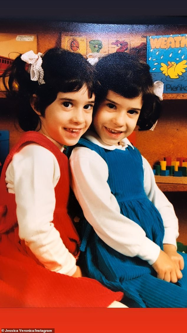 Adorable: Jessicathen shared a whole bevy of sweet images with her twin, including snaps from when they were children