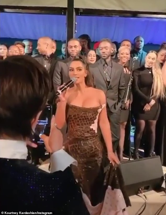 Before introducing her husband Kanye West's Sunday Service choir, 39-year-old Kim said: 'It's our annual party that we've had since literally I was one year old'