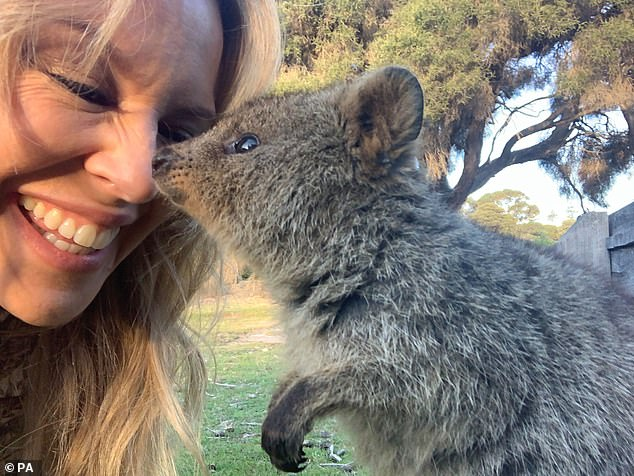 Adorable: The Quokka touched Kylie's nose as the singer giggled in the sweet snap