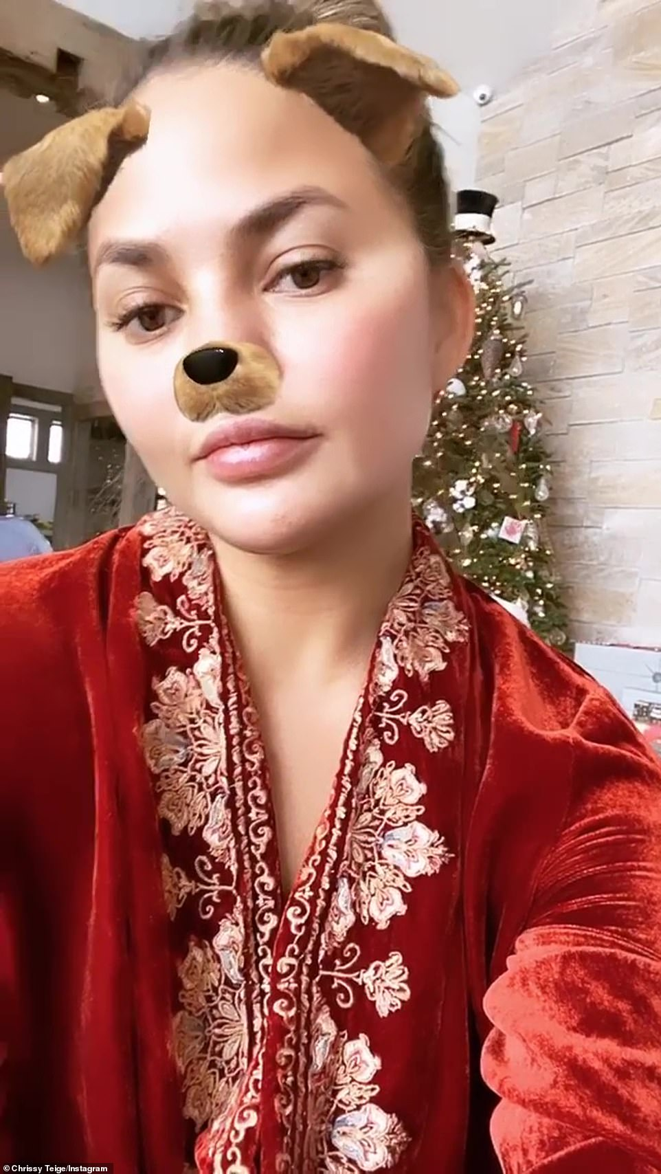 Perfect pup: Social media queen Chrissy Teigen uploaded a selfie video with a puppy filter in red velvet pj's in front of a tree