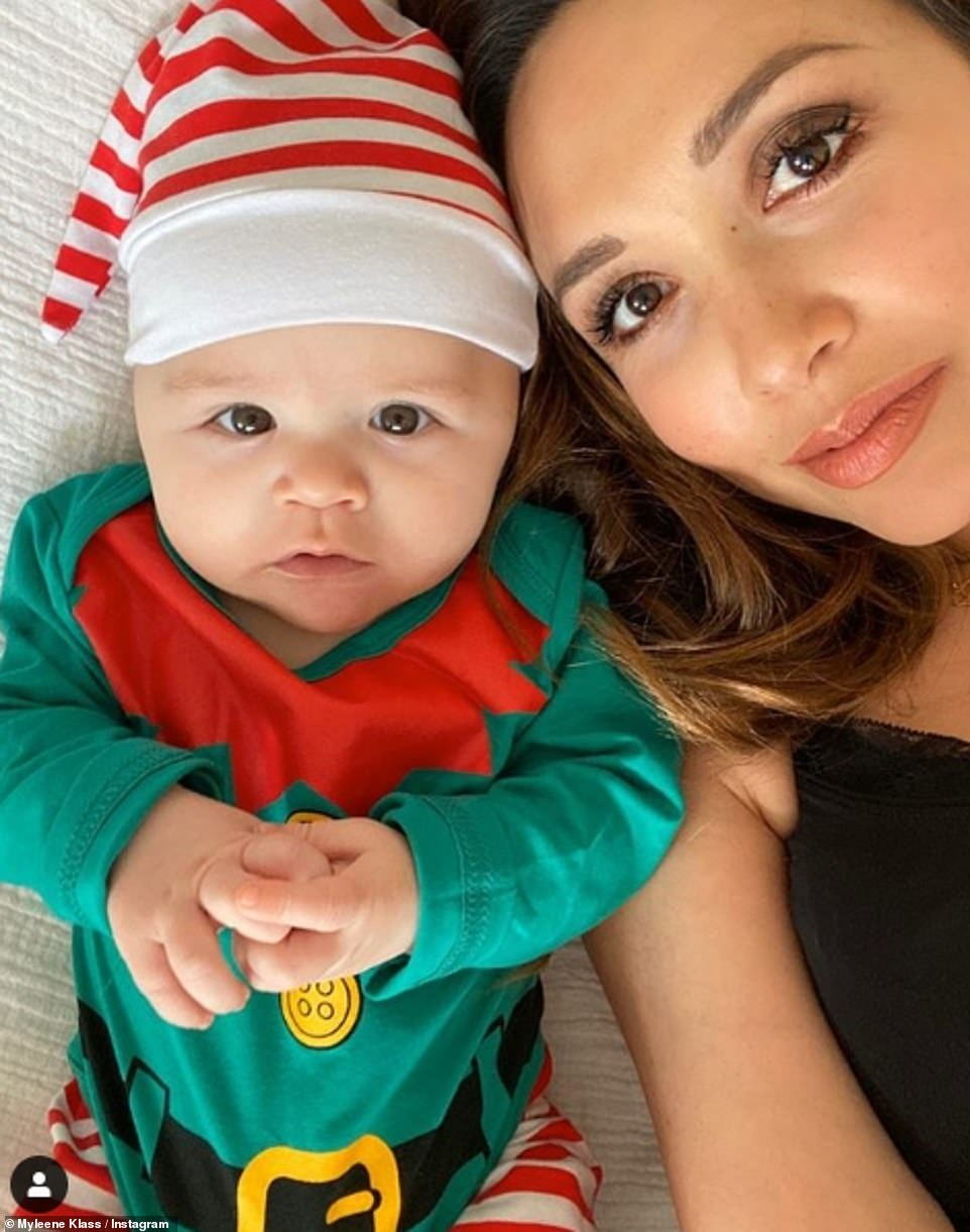 Festive: Myleene shared another sweet photo of Apollo dressed as an elf earlier in the week