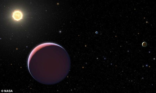 The three planets, orbiting a star called Kepler 51, were discovered in 2012 by NASA's Kepler Telescope, but their low density was not determined until 2014.Their atmosphere is comprised of a hydrogen and helium mixture that makes them puff out like balloons, resulting in their massive size (artist impression)