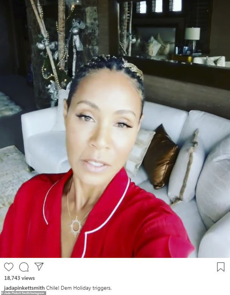 Christmas message:Jada Pinkett Smith, in festive red and white, shared her thoughts on holiday triggers