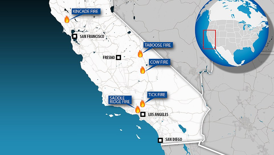 The map above shows how at least five wildfires were burning across the state in October this year, including two that are threatening Los Angeles and one which has taken hold in Sonoma County, which is part of California's wine country