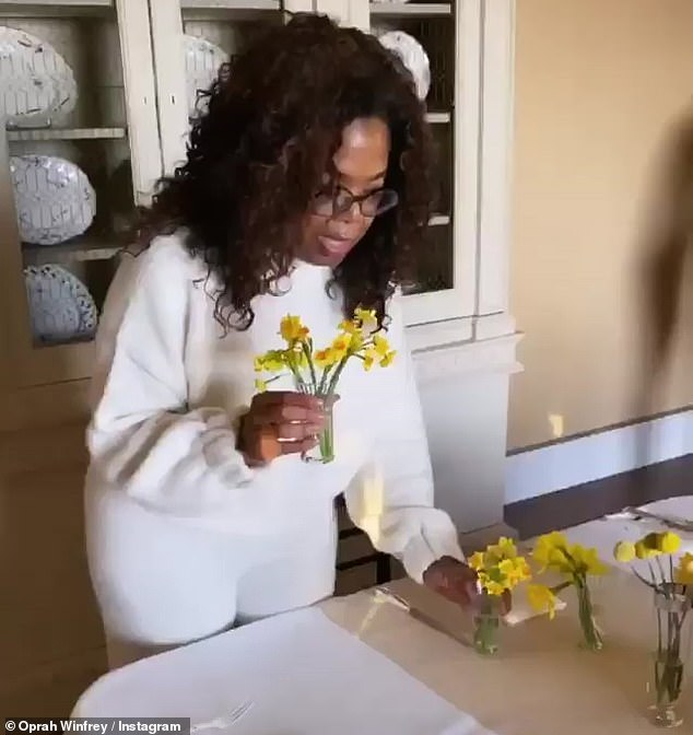 Special delivery: She revealed that they had the flowers shipped from Holland before showing off the finished product