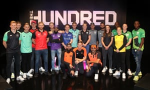 Players for the eight franchises line up after the Hundred draft was completed last year.