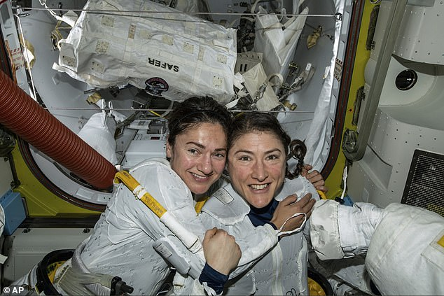 During her stay in aboard the International Space Station (ISS), Koch (right) completed four spacewalks and made headlines with her co-worker and best friend, Jessica Meir (left), by participating the first all-female spacewalk October 12