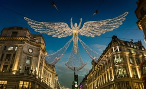 Garlands over Regent Street, the first major street in London to adopt the practice in 1954.
