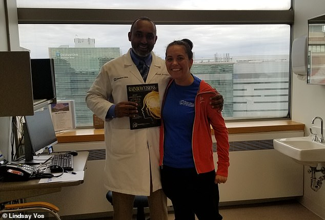 Most surgeons refused to remove the AVM - until Lindsay (right) met Dr Mark Bain (left) at Cleveland Clinic. Her performed her surgery in January 2017