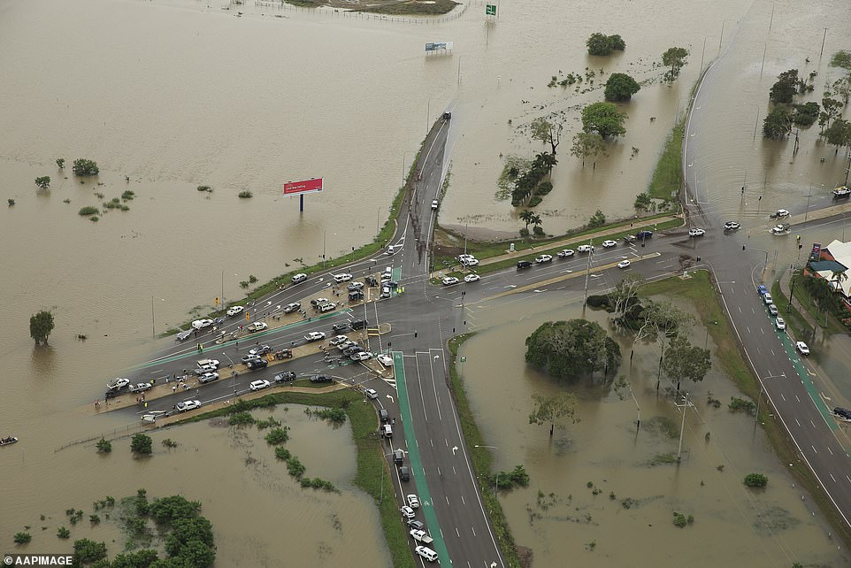 Floods in Australia (pictured above in Queensland) in 2019 cost £1.4billion and led to the deaths of three people in January and February this year
