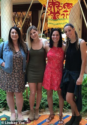 Once she learned of her condition Lindsay (pictured, second from right) wanted the arteriovenous malformation out of her brain immediately
