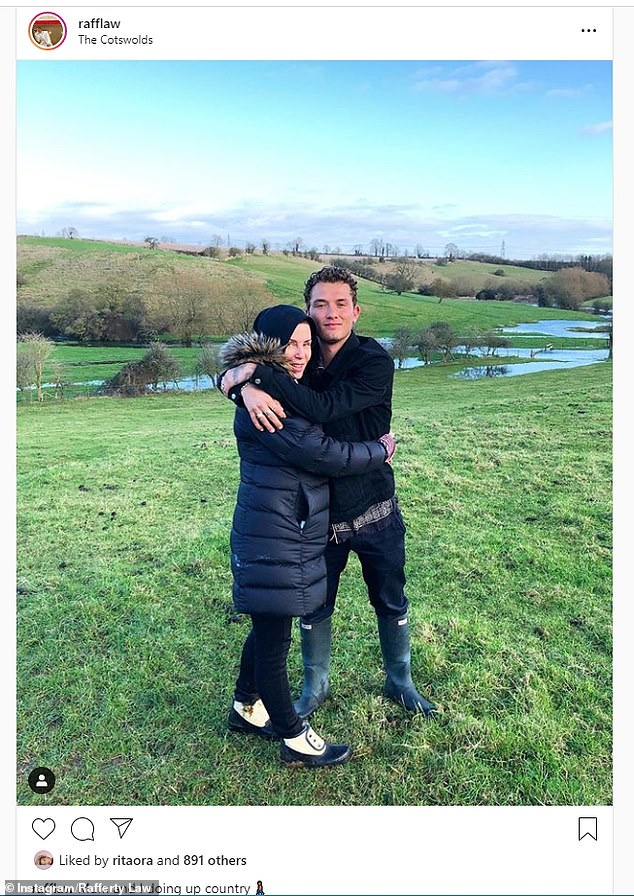 'Mum and I doing up country': Rafferty took a brief break from filming Twist as he enjoyed some quality time with his famous mother, sharing a snap of the festivities on Instagram