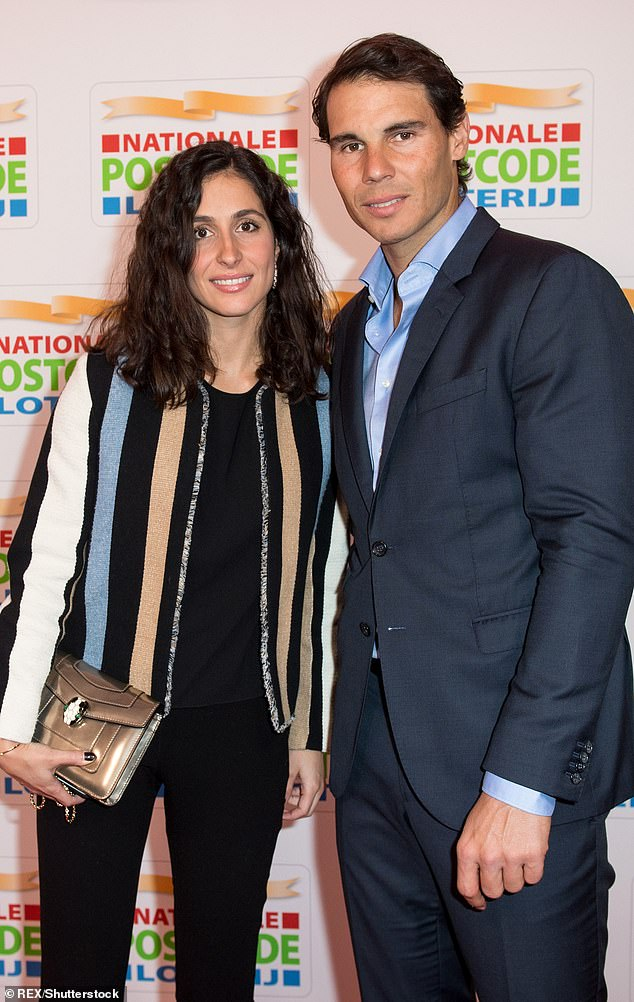 Newlyweds: While Nadal's wife, Maria Francisca 'Xisca' Perelló (left), was not seen arriving in Perth with him on Monday, it's believed she'll join him at a later date. Pictured in February 2018