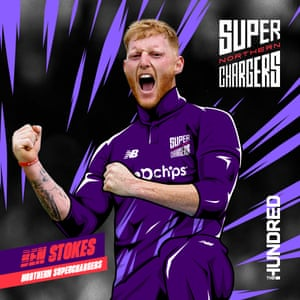 This handout graphic shows Ben Stokes in the colours of his new franchise, Northern Superchargers.