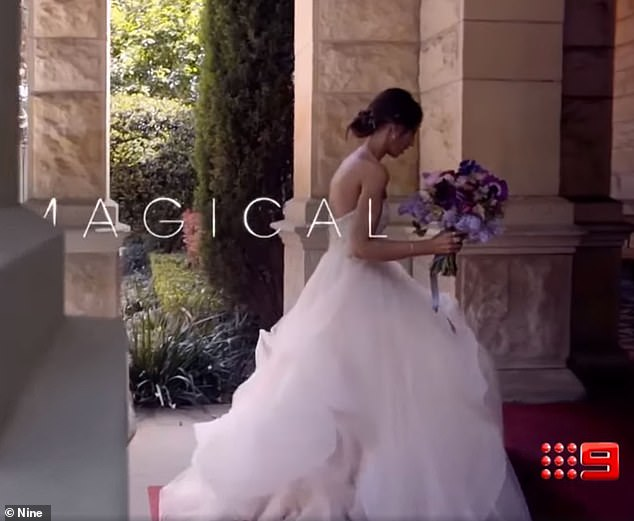 Sensational! In a split second promotional clip, the 28-year-old looked sensational in a strapless wedding gown, featuring a tulle skirt highlighting her svelte frame