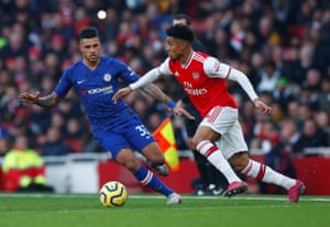 Arsenal's Reiss Nelson in action with Chelsea's Emerson Palmieri.