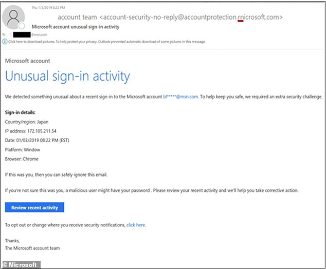 When the sender's email address is examined closely it shows they used a domain name made to look like microsoft.com but actually replaces the M with an r and n close together to resemble the m
