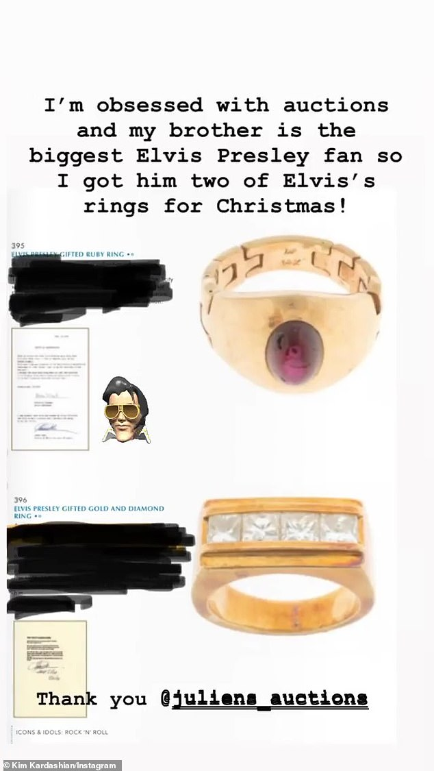 Big fan:'My brother is the biggest Elvis Presley fan so I got him two of Elvis' rings for Christmas,' Kim gushed on her Instagram story