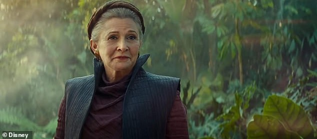 Leia:'One of the reasons that Rose has a few less scenes than we would like her to have has to do with the difficulty of using Carrie's footage in the way we wanted to,' he said