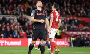 Sam Vokes reacts in frustration during Stoke's defeat at Middlesbrough.