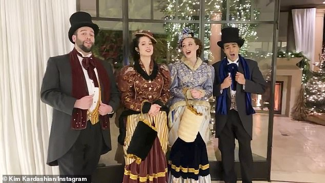 Fa-la-la-la-la! The Poosh founder enlisted traditional Christmas carolers to serenade partygoers and put them in a merry mood in the massive tent she pitched on her property
