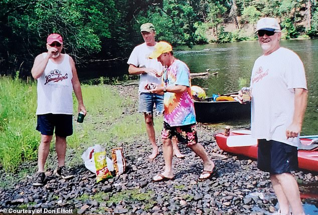 Brandt was tested and he was declared to be a match for Elliott. Pictured: Brandt (far left) and Elliott (far right) canoeing with friends by the river in 2006